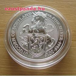 A királynő címerállatai - a skót Egyszarvú 2018 2 uncia 5 GBP ezüst pénzérme