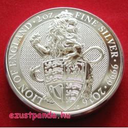 A királynő címerállatai - Oroszlán 2016 2 uncia 5 GBP ezüst pénzérme