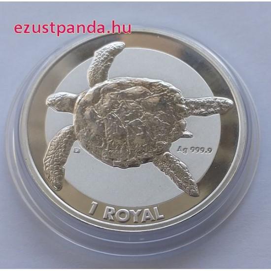 Zöld teknős 2020 Brit Indiai Óceáni Terület 1 uncia ezüst pénzérme