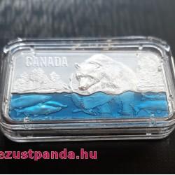 Lazacra vadászó medve 2018 1,5 uncia kanadai high-relief ezüst pénzérme