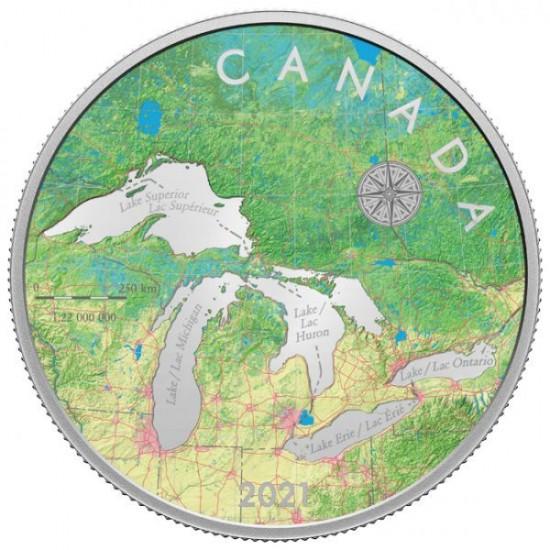 A Nagy Tavak Kanada 2021 5 uncia proof ezüst pénzérme - RÉSZLETES TÉRKÉPPEL!