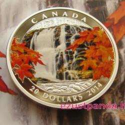 Őszi vízesés 2014 1 uncia kanadai proof ezüst pénzérme