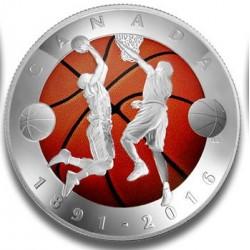 Kosárlabda 125 éves 2016 kanadai színes, proof ezüst pénzérme