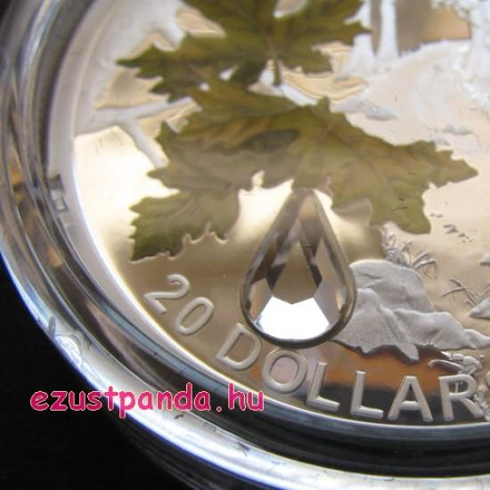 Kristály esőcsepp 2016 1 uncia proof ezüst pénzérme Swarovski kristályokkal
