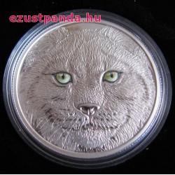 Hiúz proof ezüst pénzérme - világító tűzzománc szemekkel