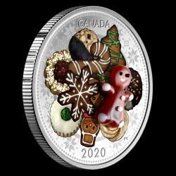 Karácsonyi sütemények murano-i üveg dísszel 1 uncia kanadai proof ezüst pénzérme