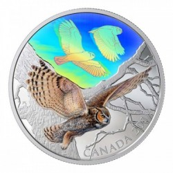 Uhu bagoly 2019 2 uncia kanadai proof ezüst pénzérme hologrammal