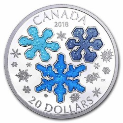 Jégkristályok 2018 1 uncia kanadai proof ezüst pénzérme