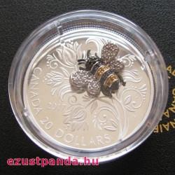 Méhecske drágakövekkel - 2017 1 uncia kanadai proof ezüst pénzérme