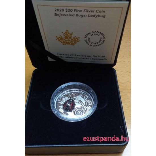 Katicabogár drágakövekkel - 2020 1 uncia kanadai proof ezüst pénzérme