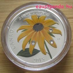 Black-Eyed Susan virág 2015 1 uncia proof ezüst pénzérme Swarovski kristályokkal