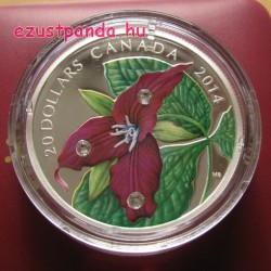 Vörös trillium (hármasszirom) 2014 1 uncia proof ezüst pénzérme Swarovski kristályokkal