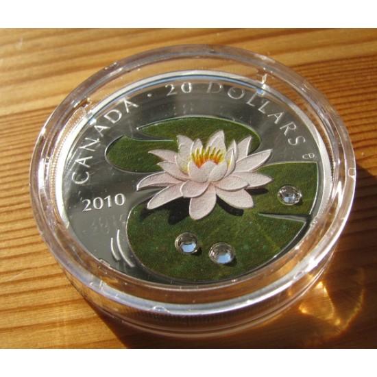 Vizililiom 2010 1 uncia proof ezüst pénzérme Swarovski kristályokkal