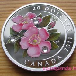 Vadrózsa 2011 1 uncia proof ezüst pénzérme Swarovski kristályokkal