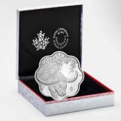 Lunar Lotus Bivaly Kanada 2021 proof ezüst pénzérme