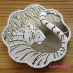 Lunar Lotus Tigris 2010 1 uncia proof ezüst pénzérme