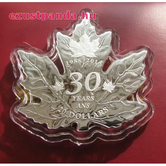 Maple Leaf 2018 1 uncia levél alakú proof ezüst pénzérme 30 éves jubileumra