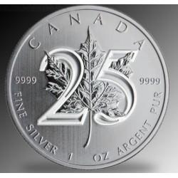 Maple Leaf 2013 1 uncia ezüst pénzérme 25 éves jubileumra