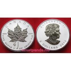 """Maple Leaf 2013 1 uncia fordított proof ezüst pénzérme """"Kígyó éve"""" verdejellel"""