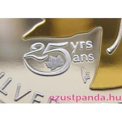 Maple Leaf 2013 1 uncia aranyozott ezüst pénzérme 25 éves jubileumra