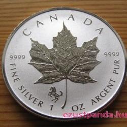 """Maple Leaf 2014 1 uncia fordított proof ezüst pénzérme """"Ló éve"""" verdejellel"""