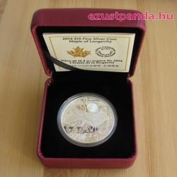 Hosszú élet - Maple of Longevity 2014 1 uncia proof hologramos ezüst pénzérme
