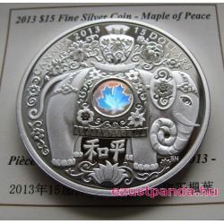 Béke elefántja - Maple of Peace 2013 1 uncia proof hologramos ezüst pénzérme