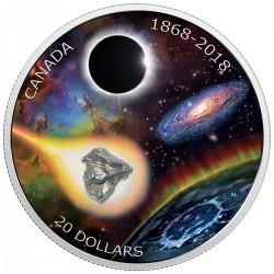 Csillagászat 2018 1 uncia kanadai proof ezüst pénzérme - meteordarabbal