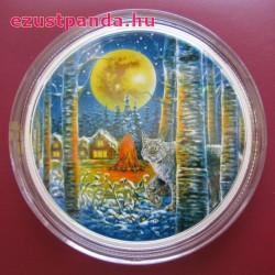 Hiúz a holdfényben 2 uncia kanadai proof ezüst pénzérme, sötétben világít