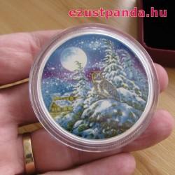 Uhu bagoly a holdfényben 2 uncia kanadai proof ezüst pénzérme, sötétben világít