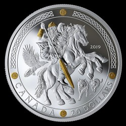 Skandináv istenek: ODIN 2019 1 uncia kanadai proof ezüst pénzérme