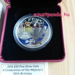 Erzsébet királynő 90 éves 1 uncia kanadai proof ezüst pénzérme