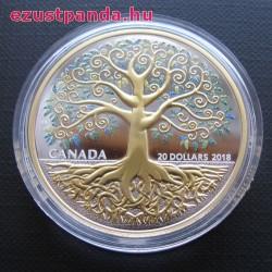 Az Élet fája Kanada 2018 aranyozott proof ezüst pénzérme