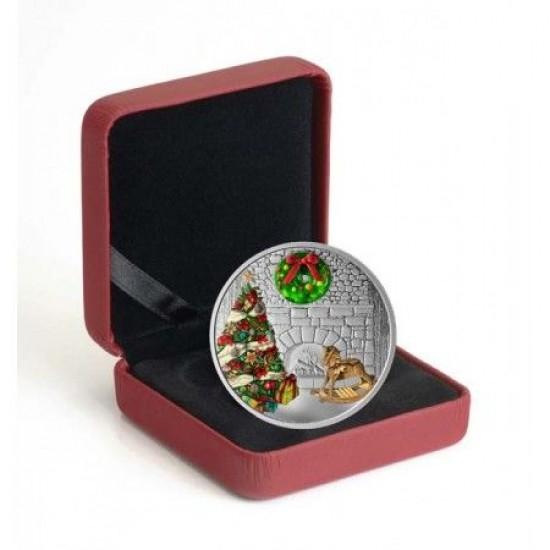 Karácsonyi koszorú murano-i üveg dísszel 1 uncia kanadai proof ezüst pénzérme