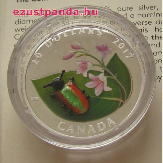 Murano-i üveg bogár 1 uncia 2017 kanadai proof ezüst pénzérme