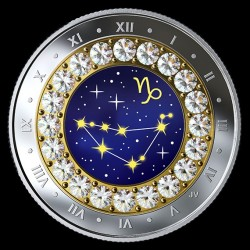 Csillagjegyek Bak 2018 proof ezüst pénzérme Swarovski kristályokkal