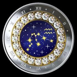 Csillagjegyek Vízöntő 2019 proof ezüst pénzérme Swarovski kristályokkal