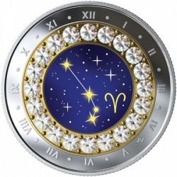Csillagjegyek Kos 2019 proof ezüst pénzérme Swarovski kristályokkal