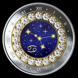 Csillagjegyek Rák 2019 proof ezüst pénzérme Swarovski kristályokkal