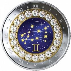 Csillagjegyek Ikrek 2019 proof ezüst pénzérme Swarovski kristályokkal