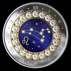 Csillagjegyek Oroszlán 2019 proof ezüst pénzérme Swarovski kristályokkal