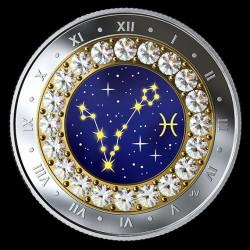 Csillagjegyek Halak 2019 proof ezüst pénzérme Swarovski kristályokkal