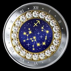 Csillagjegyek Nyilas 2019 proof ezüst pénzérme Swarovski kristályokkal