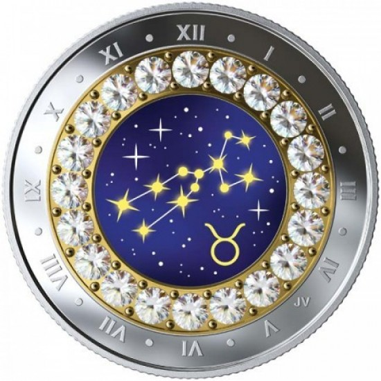 Csillagjegyek Bika 2019 proof ezüst pénzérme Swarovski kristályokkal
