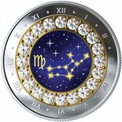 Csillagjegyek Szűz 2019 proof ezüst pénzérme Swarovski kristályokkal