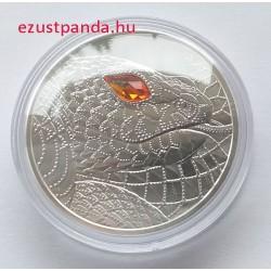 A világ szemei - A teremtő kígyó 20 EUR 2021 proof ezüst pénzérme Swarovski kristállyal