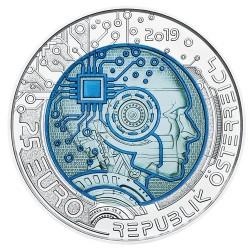 Mesterséges intelligencia 25 EUR 2019 ezüst-nióbium pénzérme