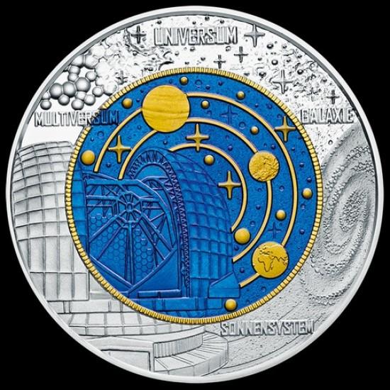 Kozmológia (Kosmologie) 25 EUR 2015 ezüst-nióbium pénzérme
