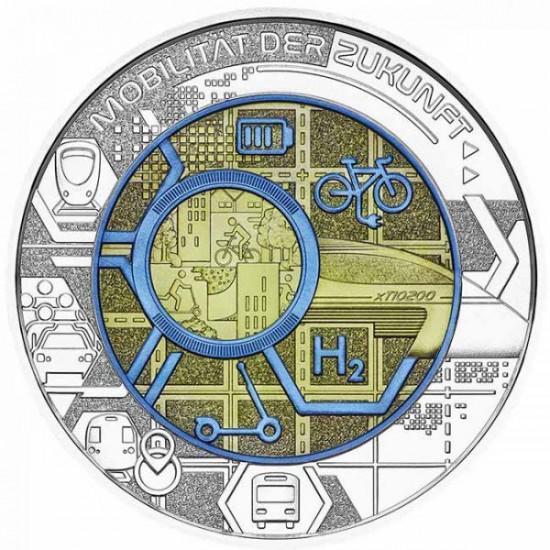 Mobilitás a jövőben - 25 EUR 2021 ezüst-nióbium pénzérme
