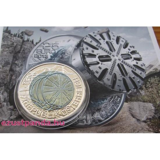 Alagútfúrás (Tunnelbau) 25 EUR 2013 ezüst-nióbium pénzérme
